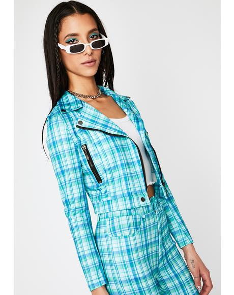 Turquoise Plaid Action Moto Jacket