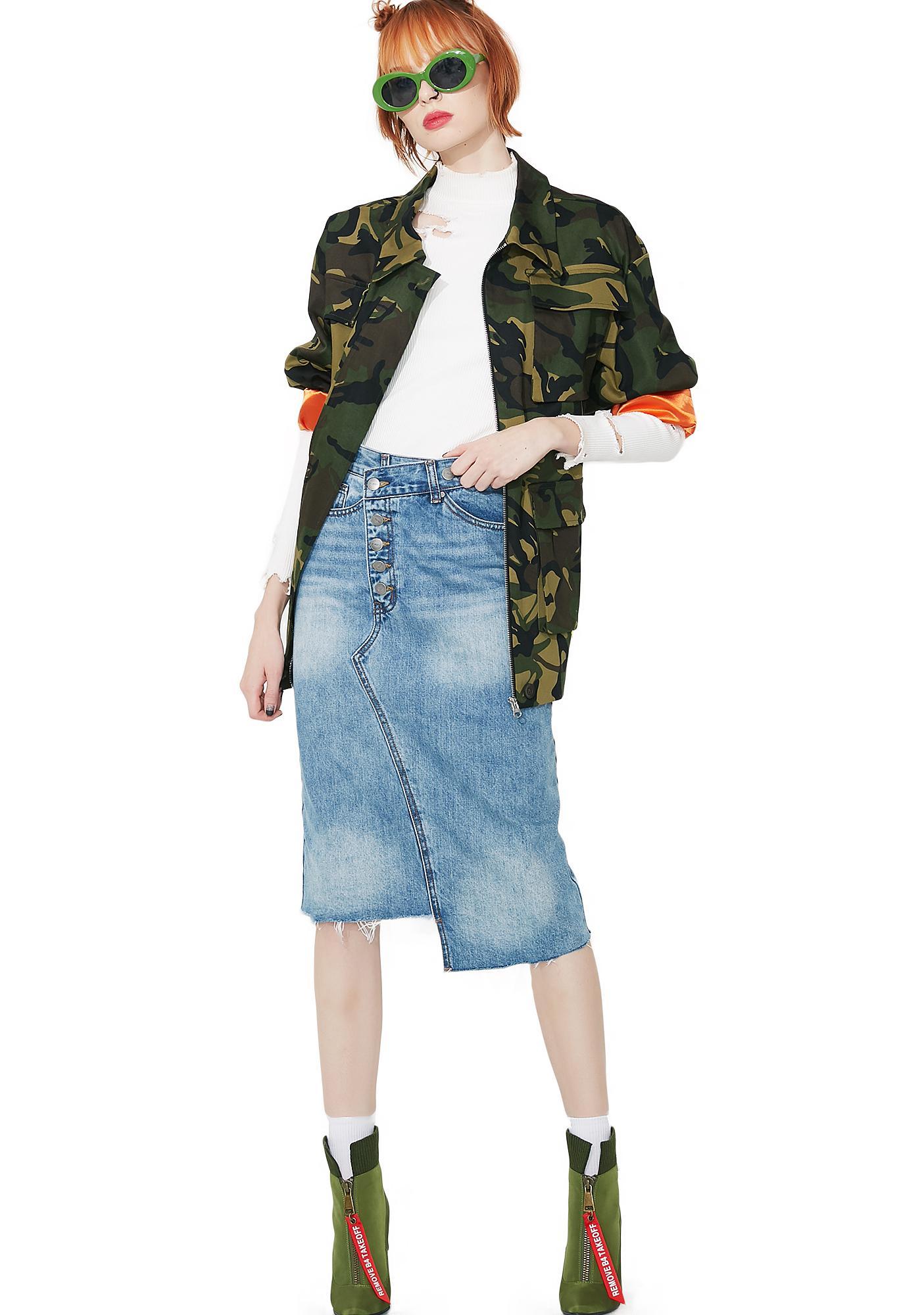 EVIDNT Denim Midi Skirt