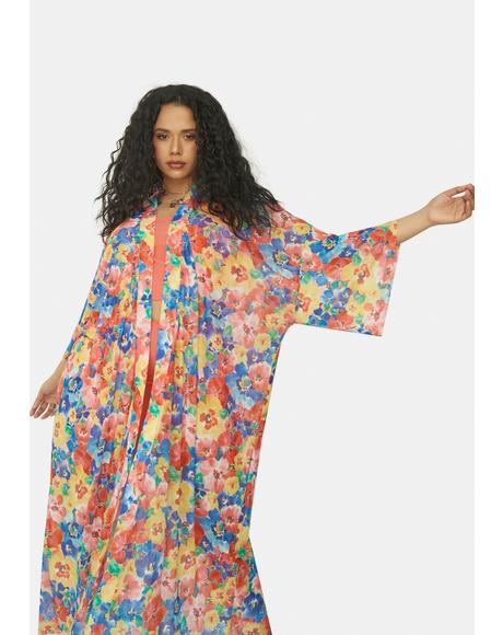 True Spring State Of Mind Floral Mesh Robe