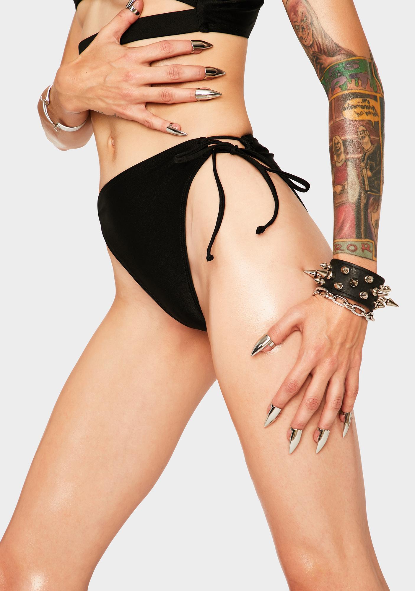 RIS-K Black Whimsical Bikini Bottoms