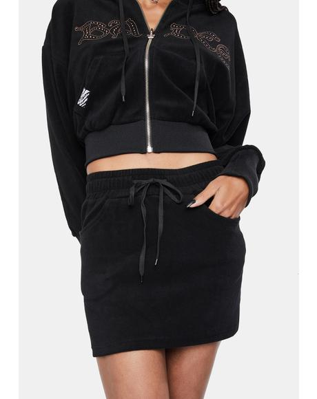 Halfstud Lowrise Velour Skirt