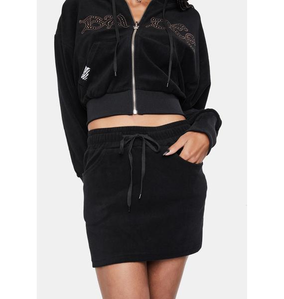 BADEE Halfstud Lowrise Velour Skirt