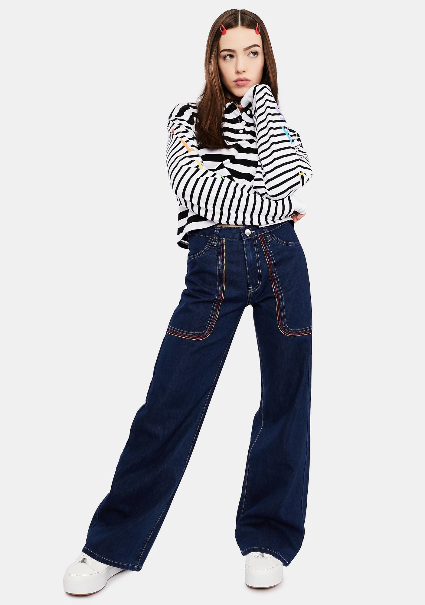 dELiA*s by Dolls Kill Rockin' Around Wide Leg Jeans
