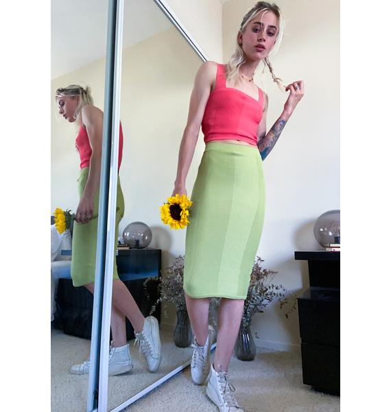 Mink Pink Apple Chevron Knit Midi Skirt