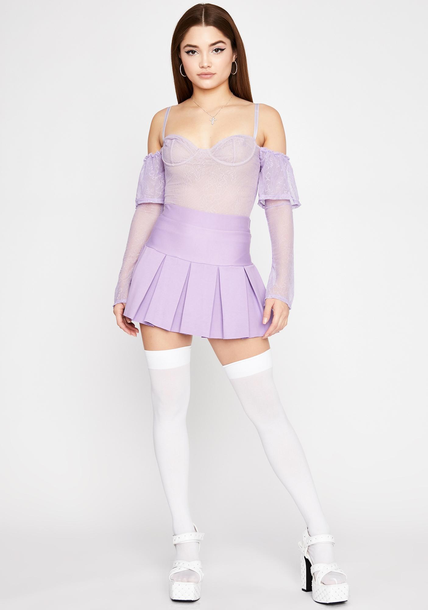 Lilac Freaky Flirt Lace Bodysuit