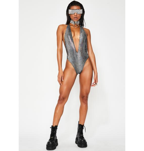 Jaded London Silver Serpent Plunge One Piece Swimsuit