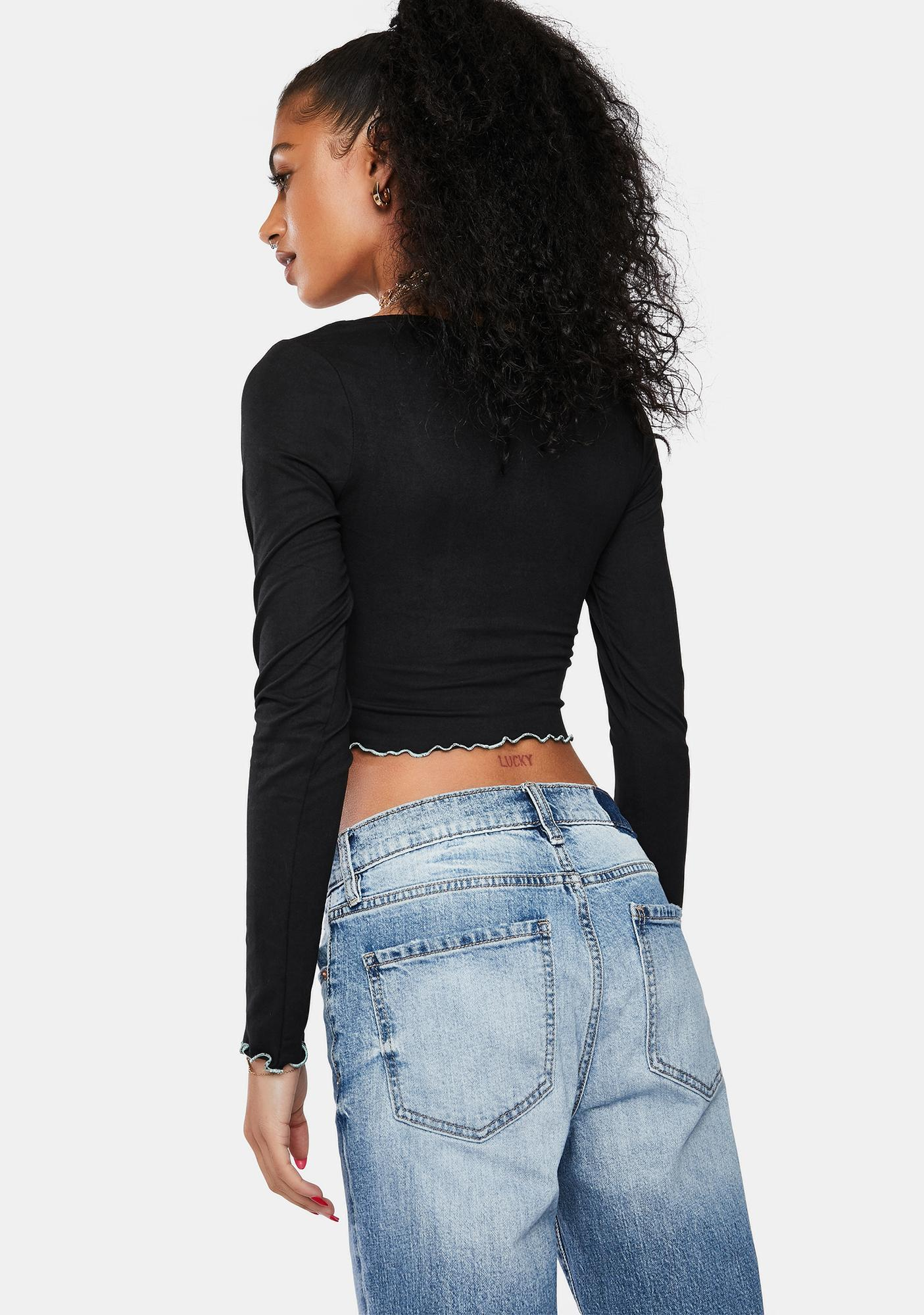 Late Yes No Maybe Long Sleeve Crop Top