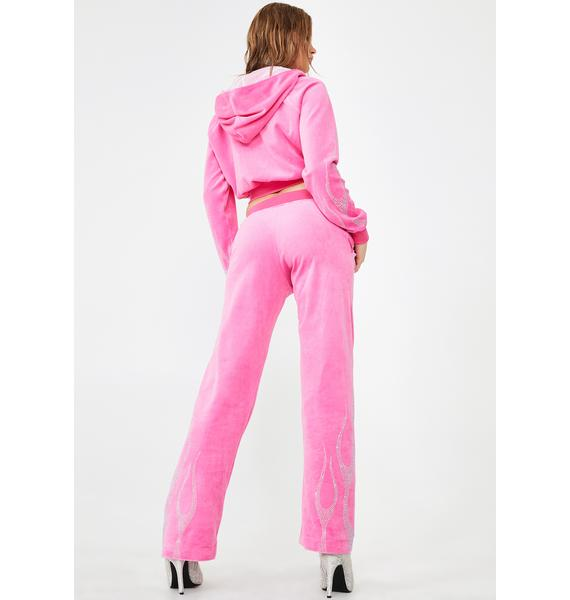 Namilia That's Hot Pink Crystal Velour Trousers