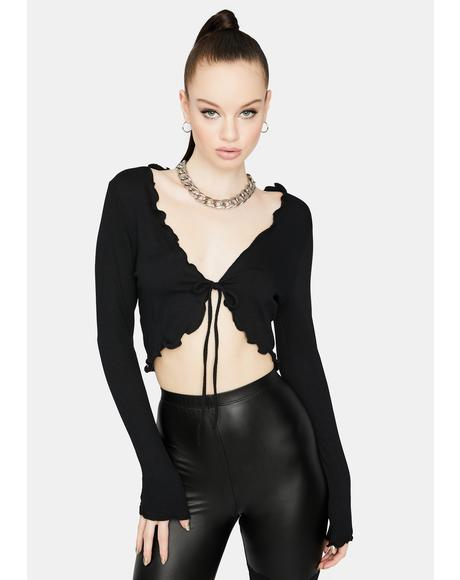 Dark On And Poppin' Tie Front Crop Top