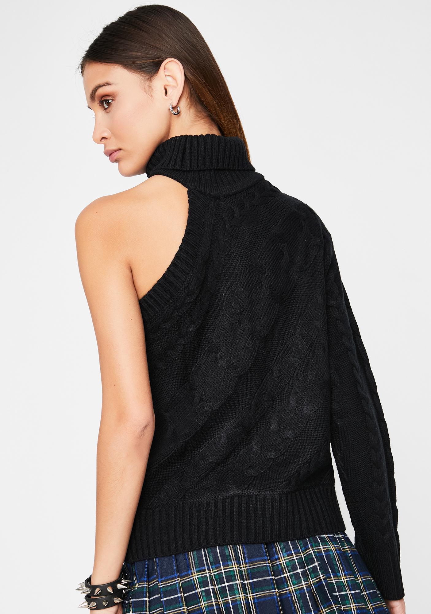 Dark Preppy Princess One-Sleeve Sweater