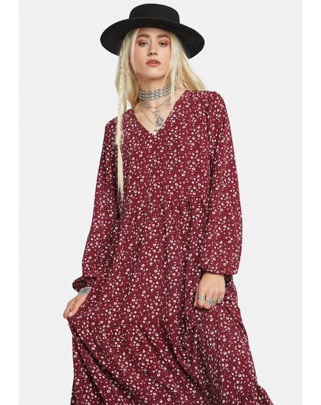 Maroon Ditsy Floral Print Maxi Dress