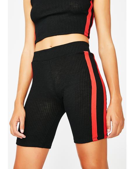 No Competition Ribbed Biker Shorts