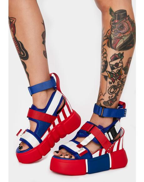 Americana Star Light Star Brite Platform Sandals