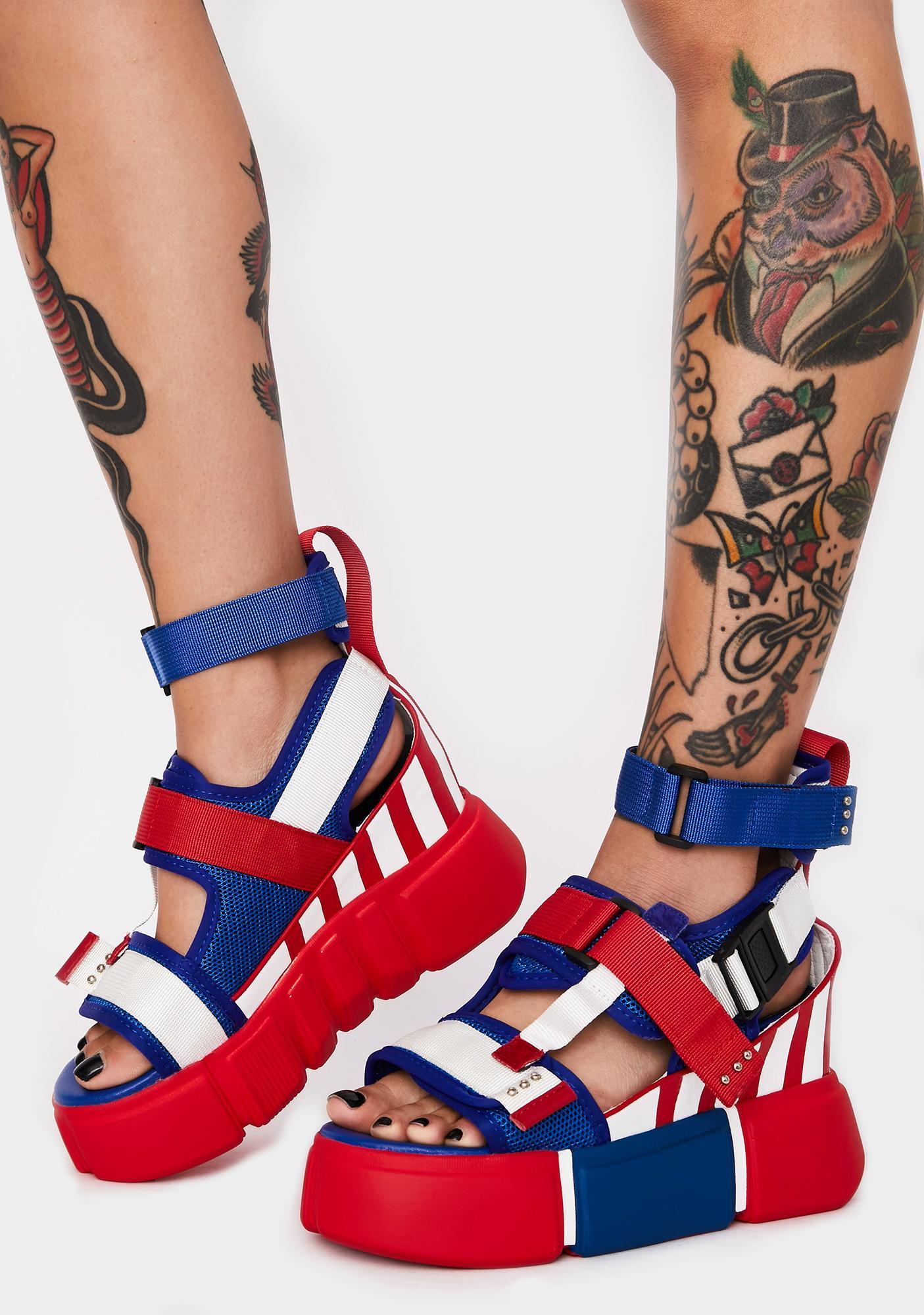 Anthony Wang Americana Star Light Star Brite Platform Sandals