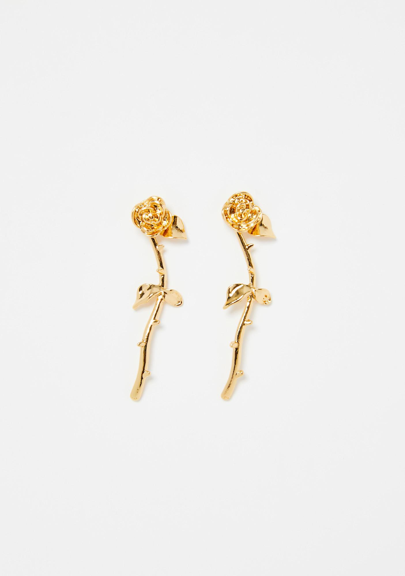 Golden Blooming Beauty Rose Earrings