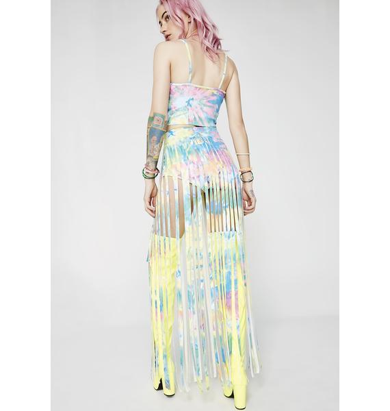J Valentine Tie Dye Fringe Gypsy Skirt