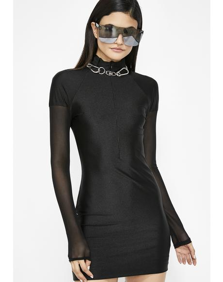 Onyx Space Age Bae Mini Dress