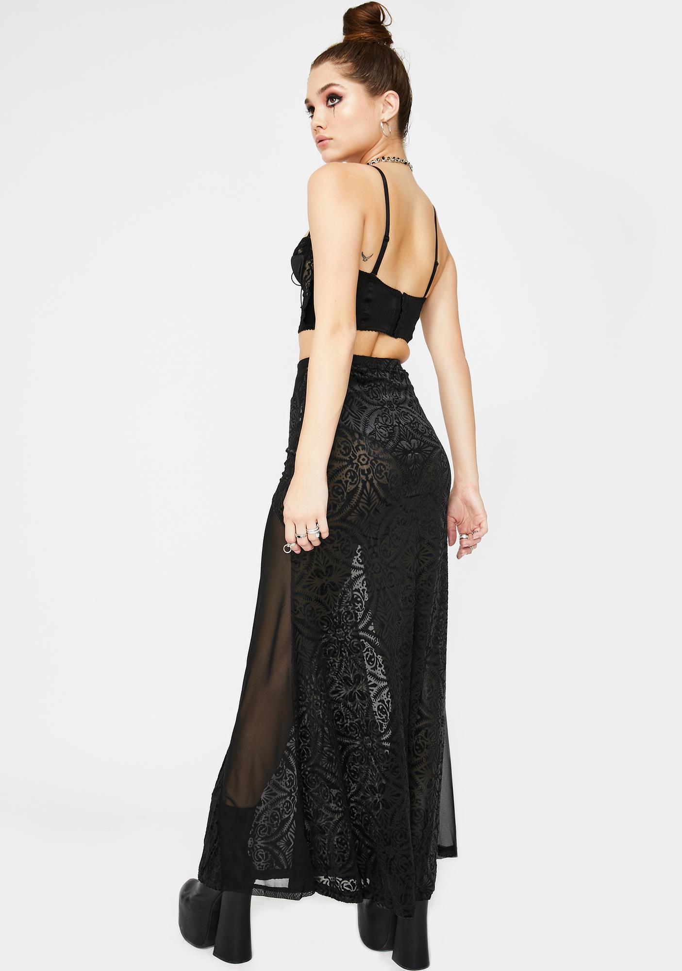 Devil Fashion Sheer Paneled Maxi Skirt