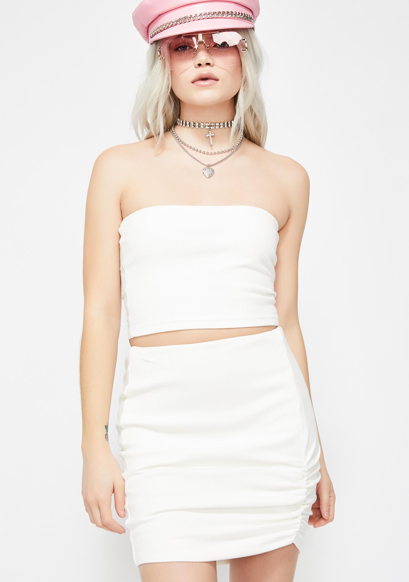a6eb3bdc805 White Ribbed Tube Top Mini Skirt Set