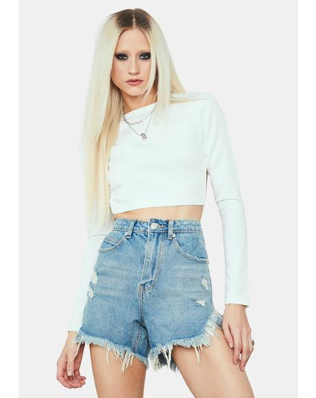 West Coast Distressed Long Denim Shorts