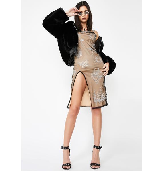 Jaded London Mesh Cami Dress With Diamante Tattoo Detail