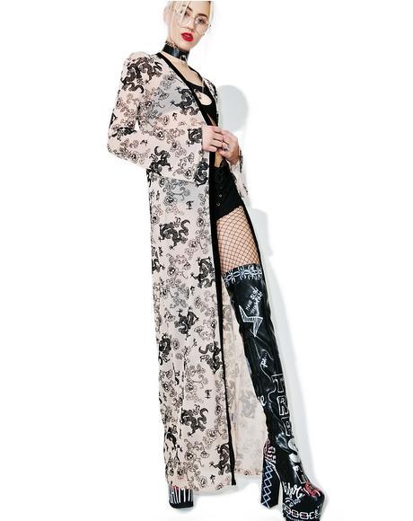 Flock Print Mesh Maxi Kimono