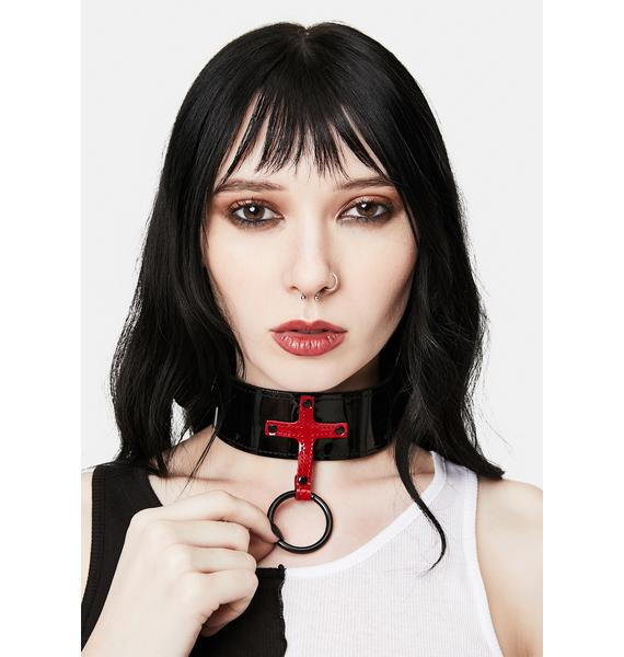 Funk Plus Thick Patent Choker With Red Cross And O-Ring