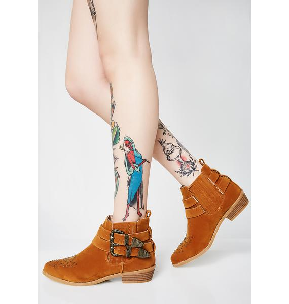 Camel Cowgirl Kisses Studded Booties