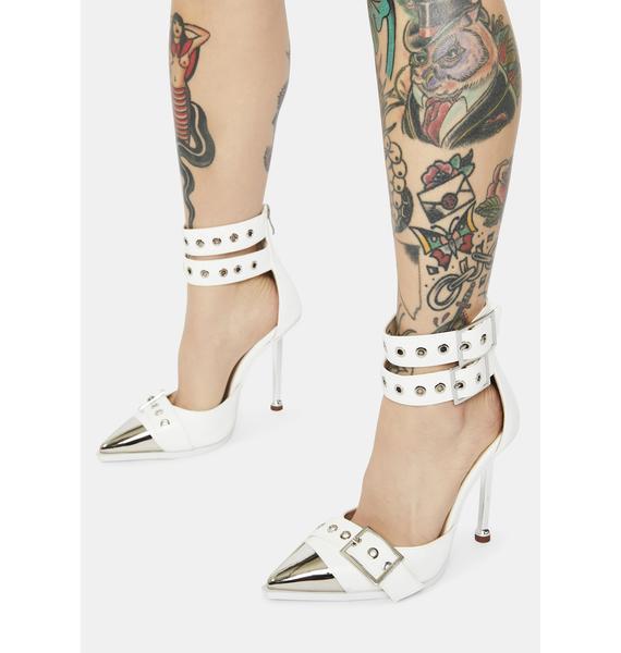 AZALEA WANG White Ripley Patent Buckle Heels