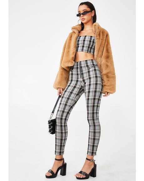Neutral Check Pearl Pants