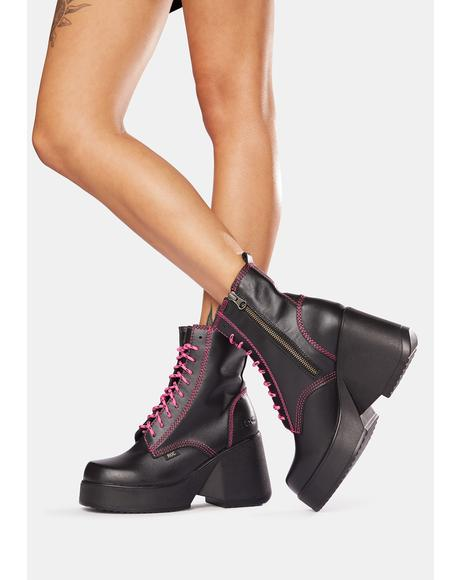 Peachy Pink Leather Platform Boots