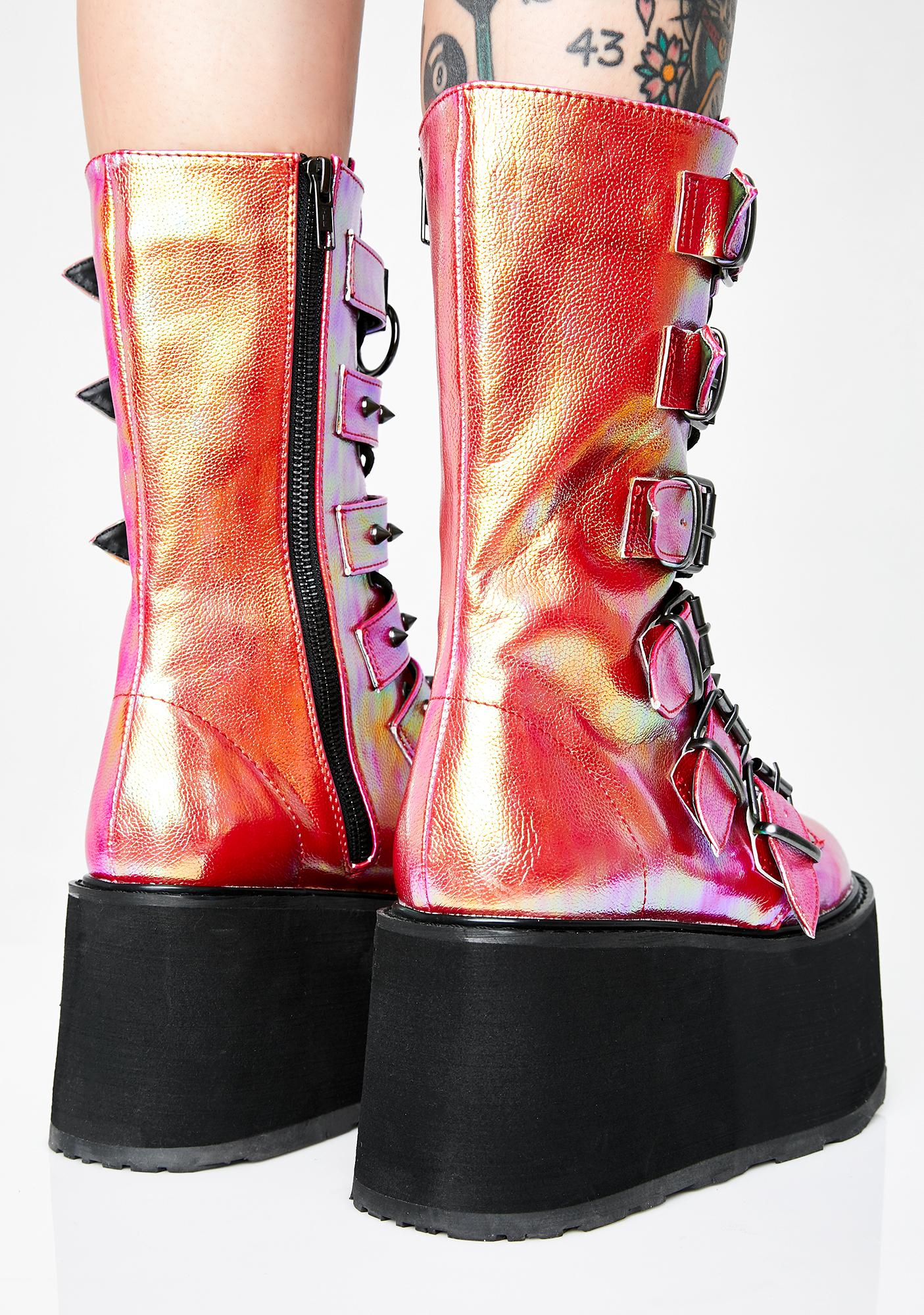 Demonia Sunset Prizm Heist Buckle Boots
