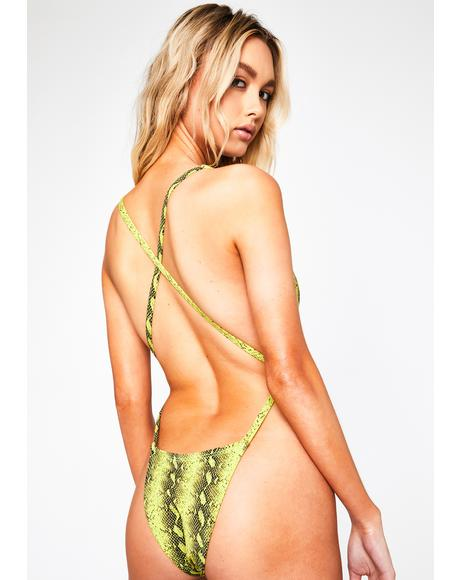 Light Green Python Paradise One Piece Swimsuit