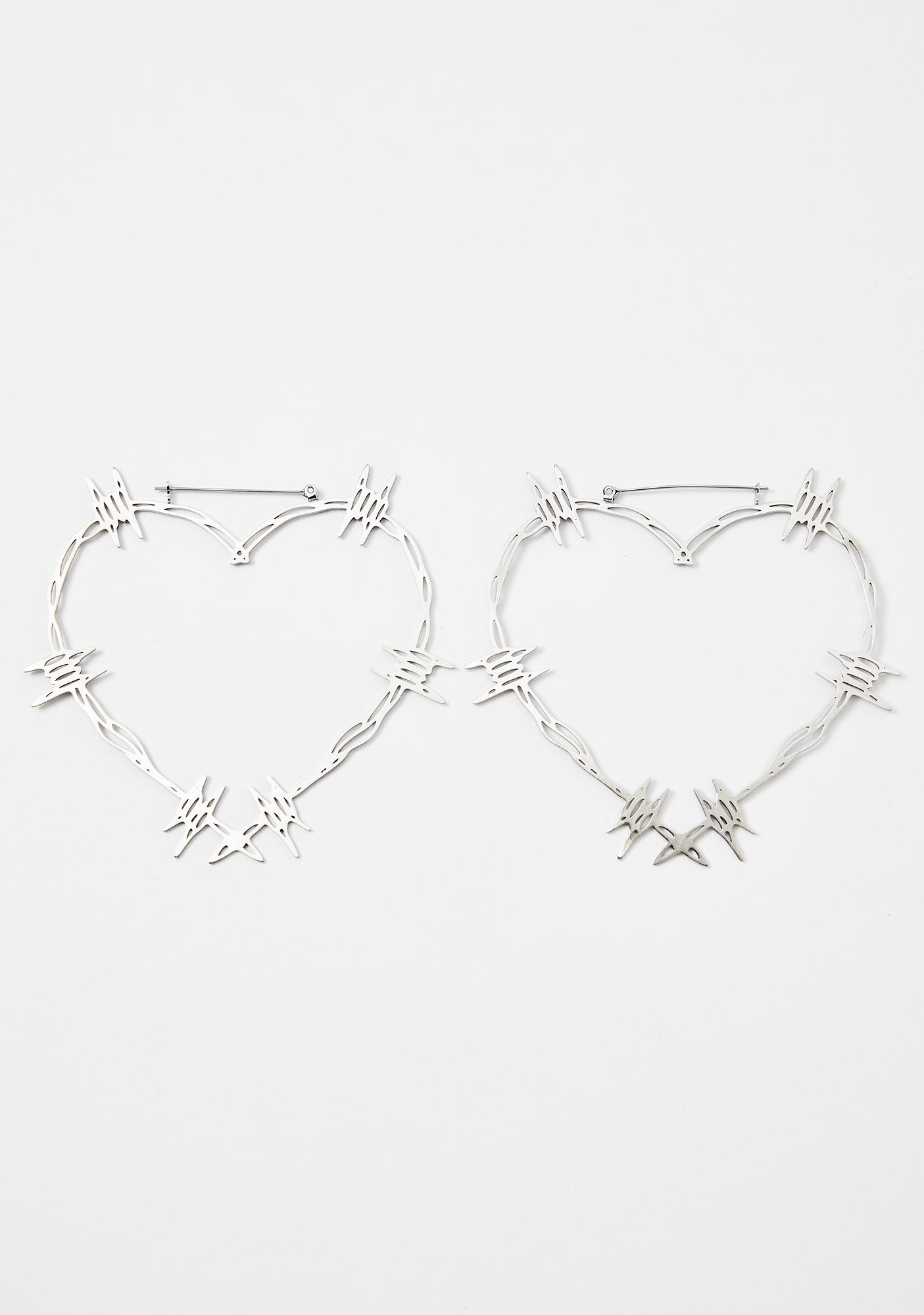 Too Fast Barbwire Heart Hoop Earrings