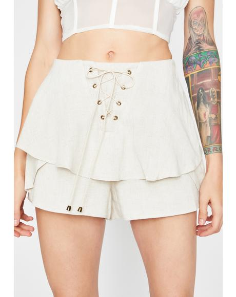 Mode Of Persuasion Lace-Up Shorts