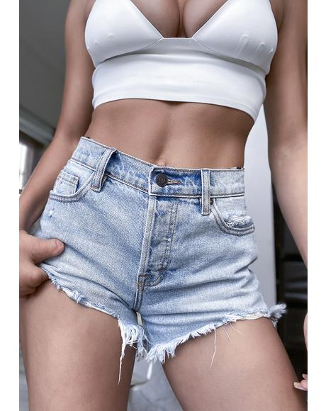 Finn Light Wash Frayed Denim Shorts