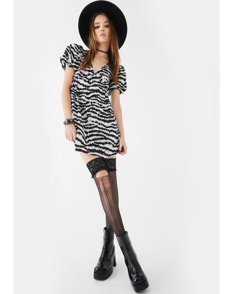 Elcia Tiger Stripe Babydoll Dress