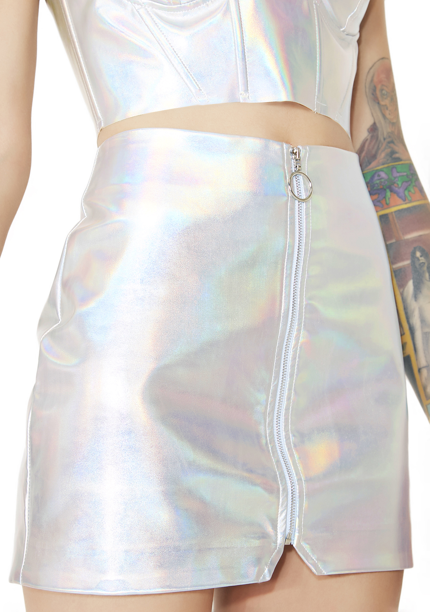 Silver Holographic Vegan Leather Mini Skirt