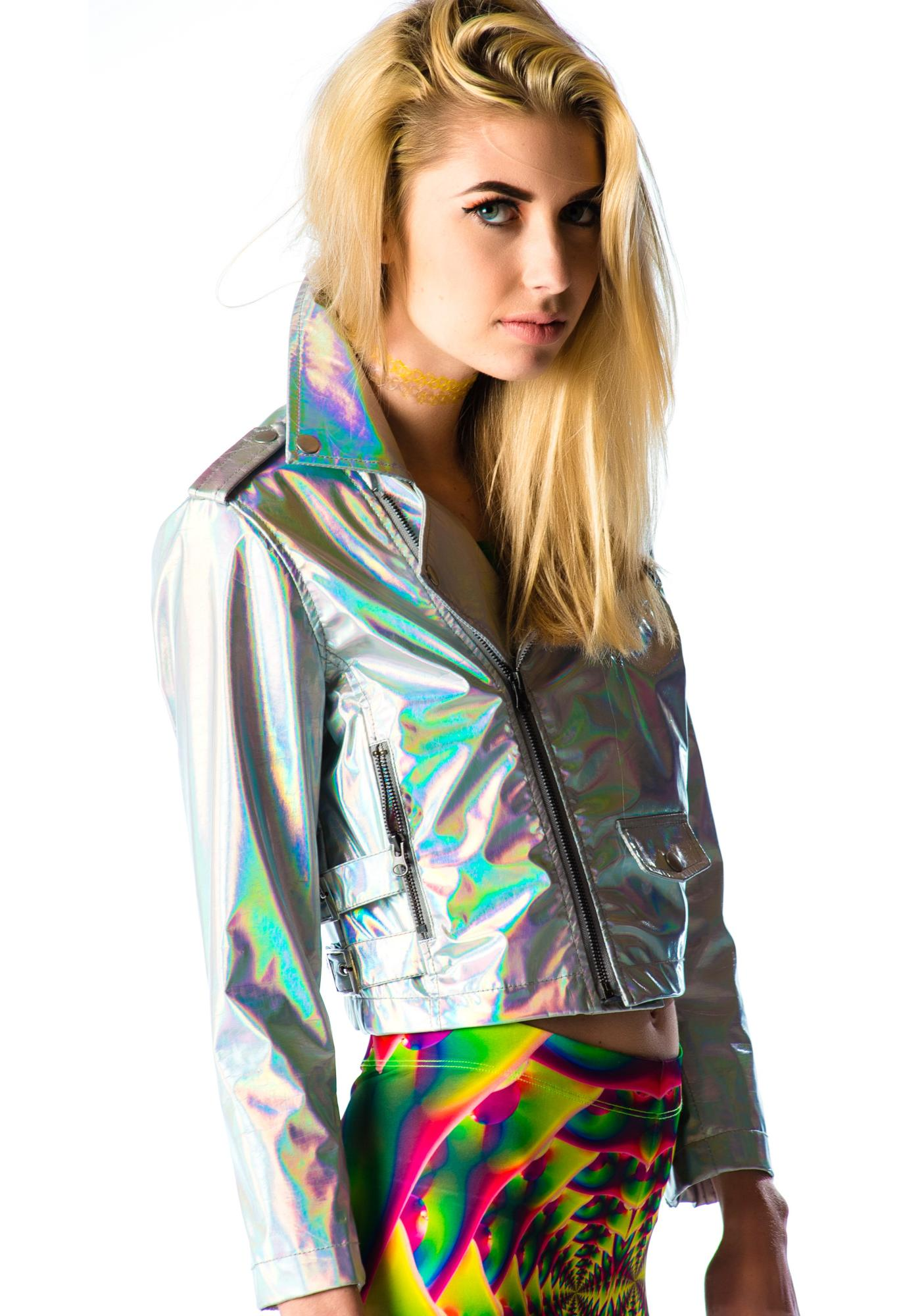 Lip Service Hello Hologram Moto Jacket