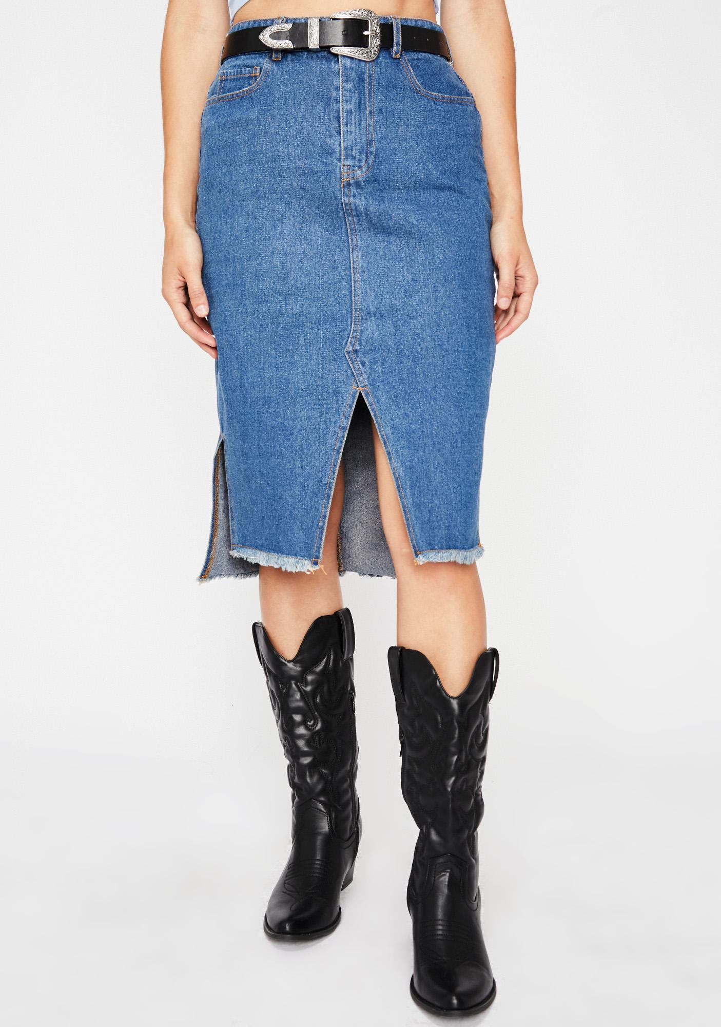 Any Time Any Place Denim Skirt