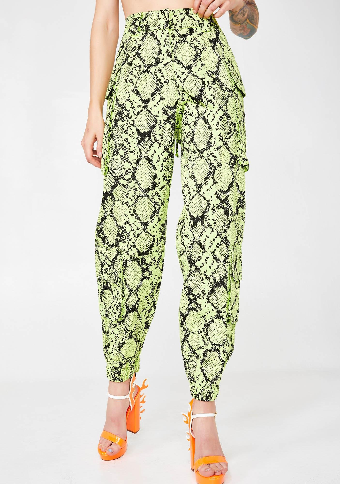 Jaded London Neon Green Snakeskin Combat Trousers