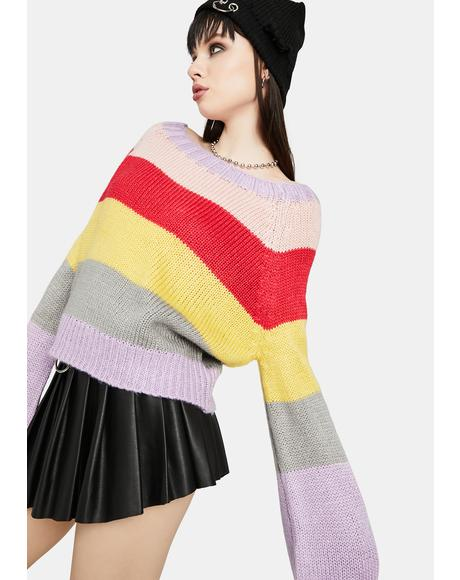 I'm Cozy Multi Stripe Sweater