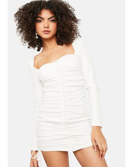 With Love From LA Ruched Button Front Mini Dress