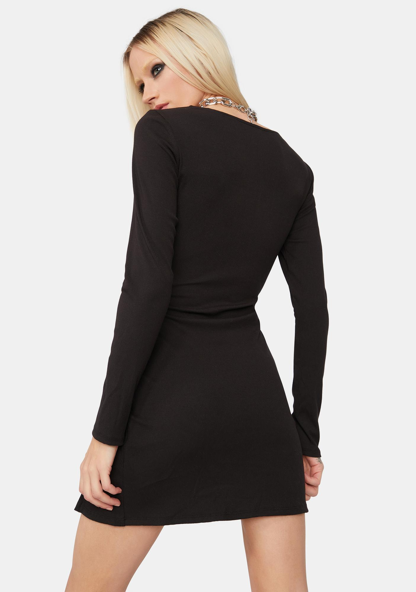Purest Intentions Square Neck Long Sleeve Mini Dress
