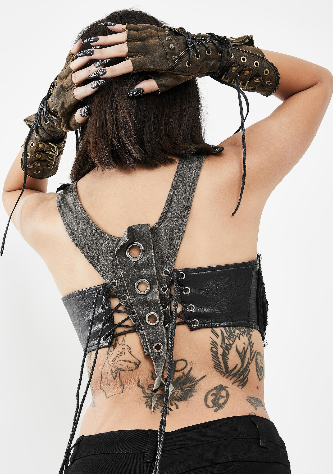 Devil Fashion Lace Up Bra Top With Pointed Collar
