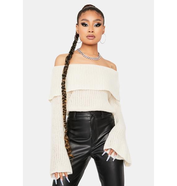 Almond Rare Beauty Off Shoulder Sweater