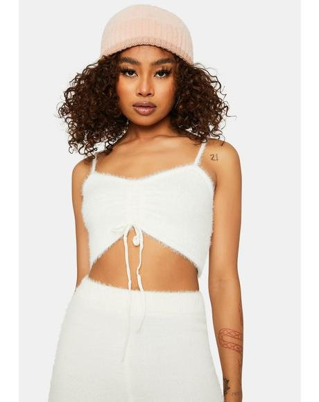 Bliss Banana Pancakes Fuzzy Ruched Crop Top