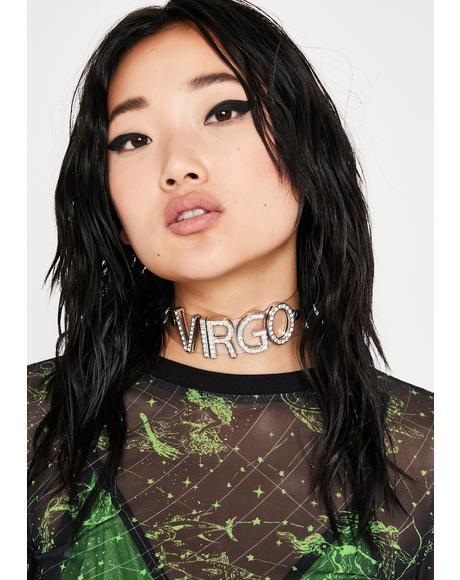 Viral Virgo Rhinestone Choker