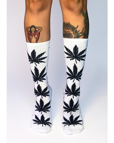 White Plantlife Crew Socks
