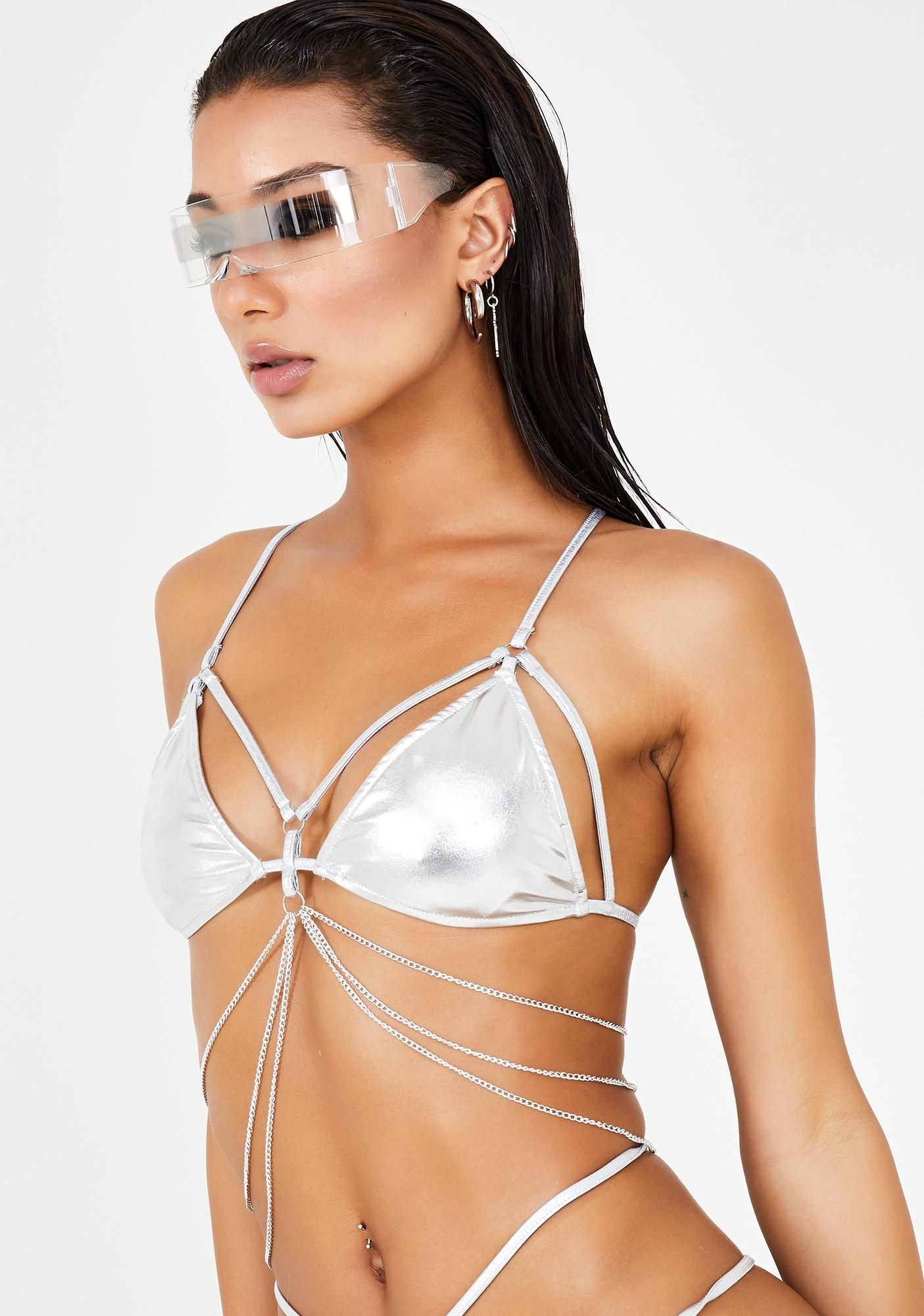 Club Exx Chrome Digital Ecstasy Harness Top